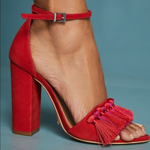 2bf4ea1c78 SCHUTZ Shoes | Worn Once Detty Tassel Heels In Red | Poshmark